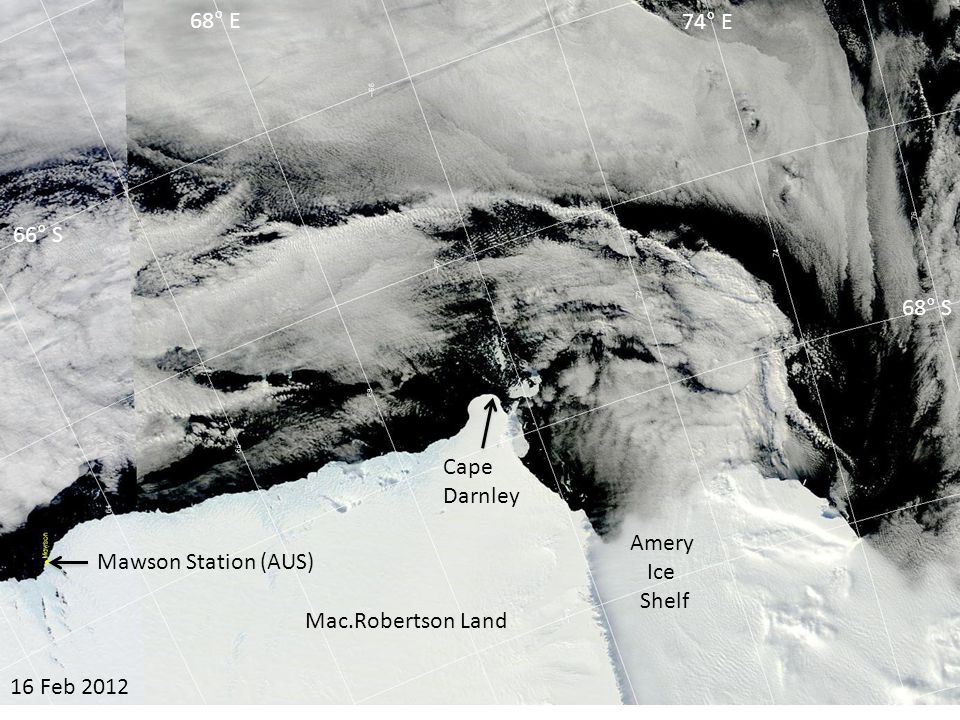 08 Mar 2012 Amery Ice Shelf Cape Darnley 66° S 68° S 68° E 74° E Mac.Robertson Land Mawson Station (AUS)