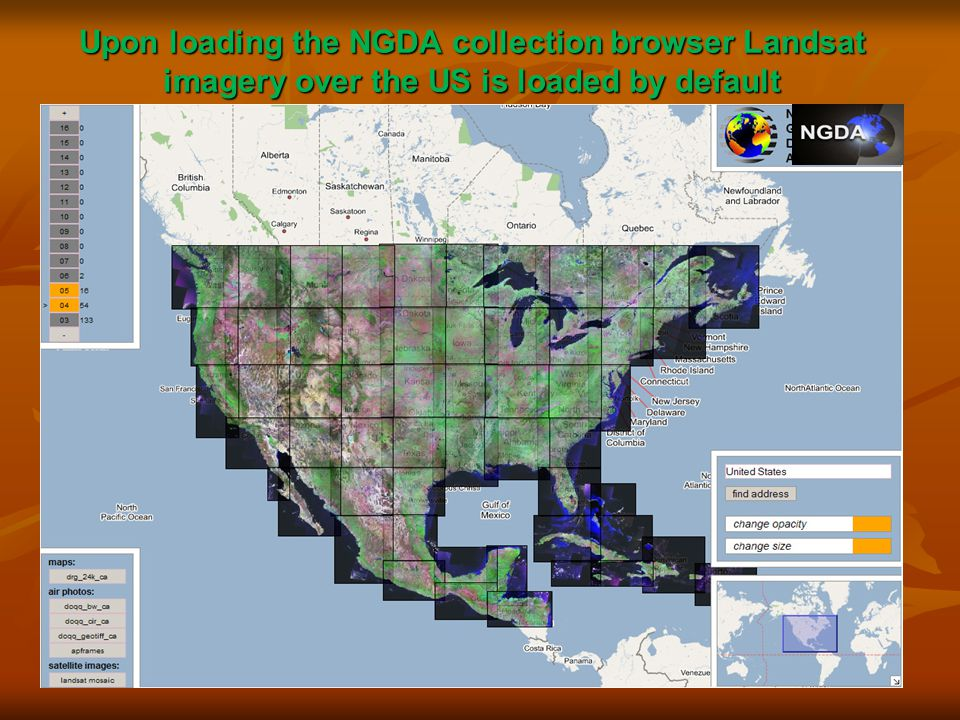Upon loading the NGDA collection browser Landsat imagery over the US is loaded by default