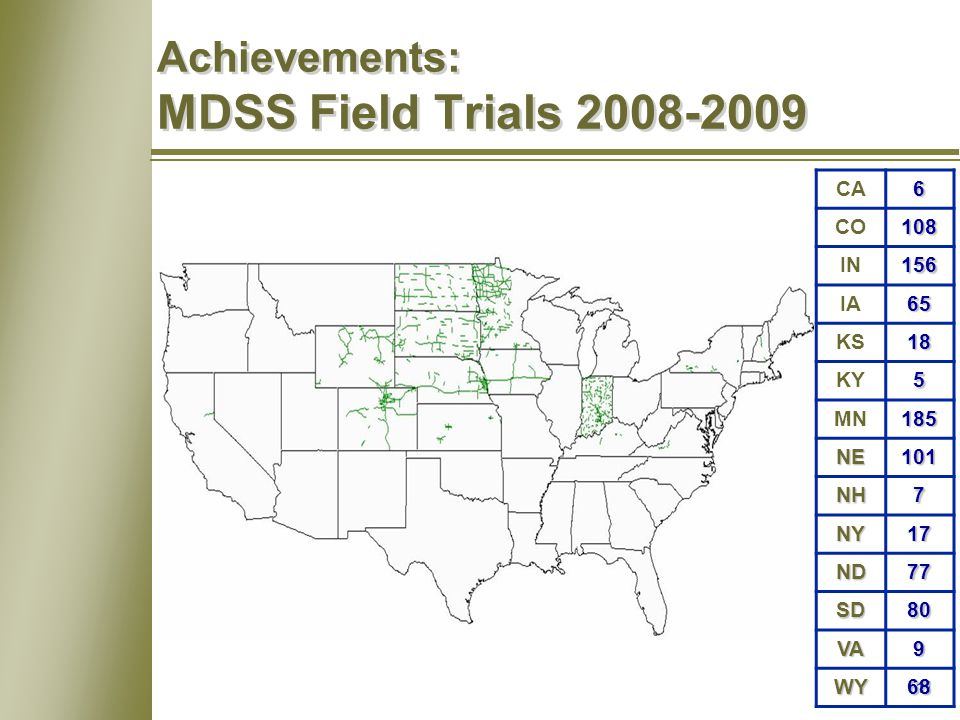11 Achievements: MDSS Field Trials 2008-2009 CA6 CO108 IN156 IA65 KS18 KY5 MN185 NE101 NH7 NY17 ND77 SD80 VA9 WY68
