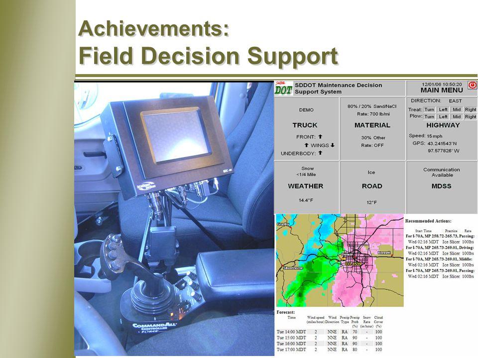 13 Achievements: Field Decision Support