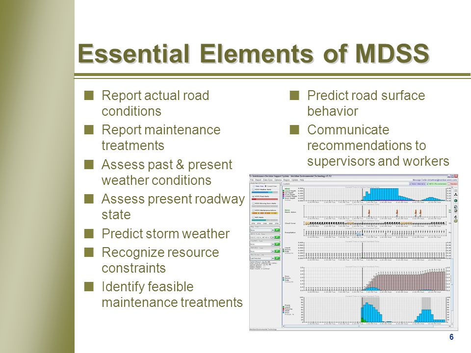 6 Essential Elements of MDSS nReport actual road conditions nReport maintenance treatments nAssess past & present weather conditions nAssess present roadway state nPredict storm weather nRecognize resource constraints nIdentify feasible maintenance treatments nPredict road surface behavior nCommunicate recommendations to supervisors and workers
