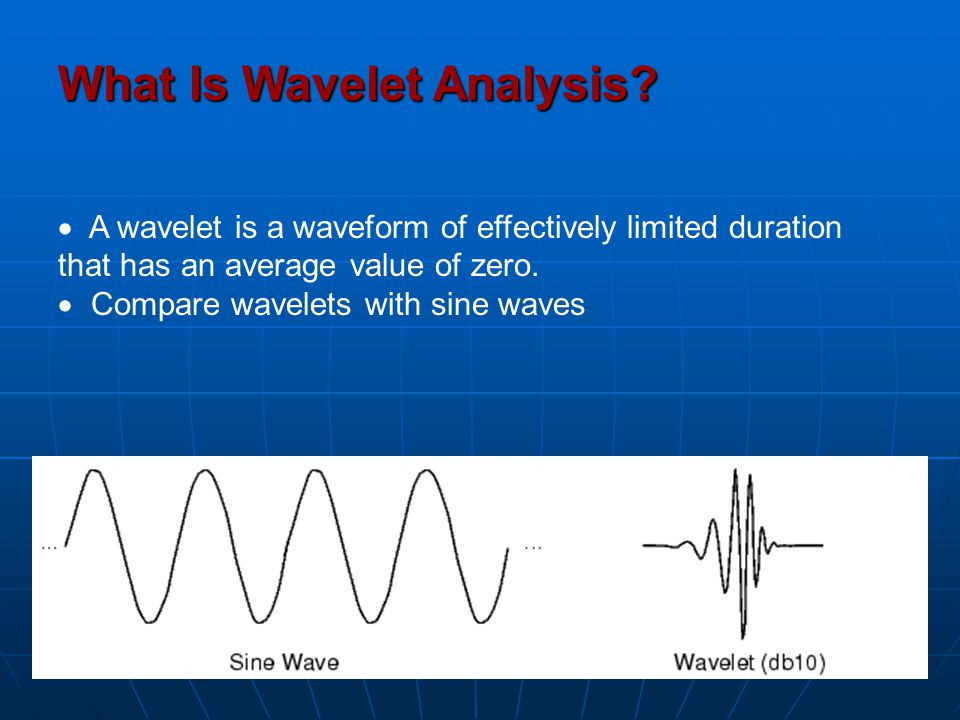 What Is Wavelet Analysis?  A wavelet is a waveform of effectively limited duration that has an average value of zero.  Compare wavelets with sine wa