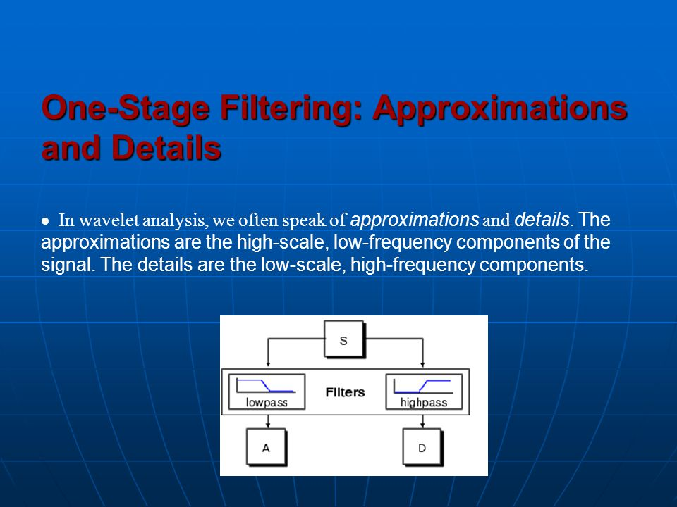 One-Stage Filtering: Approximations and Details  In wavelet analysis, we often speak of approximations and details.