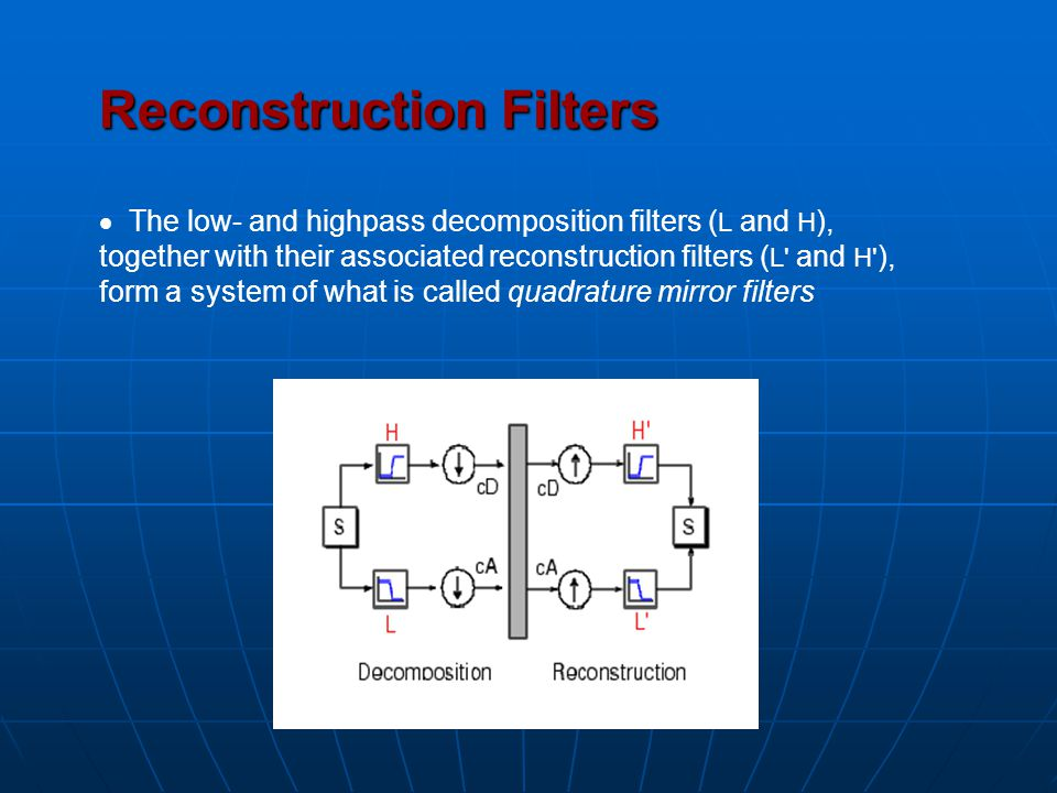 Reconstruction Filters  The low- and highpass decomposition filters ( L and H ), together with their associated reconstruction filters ( L' and H' ),
