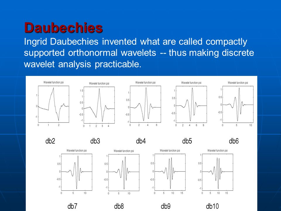 Daubechies Ingrid Daubechies invented what are called compactly supported orthonormal wavelets -- thus making discrete wavelet analysis practicable.