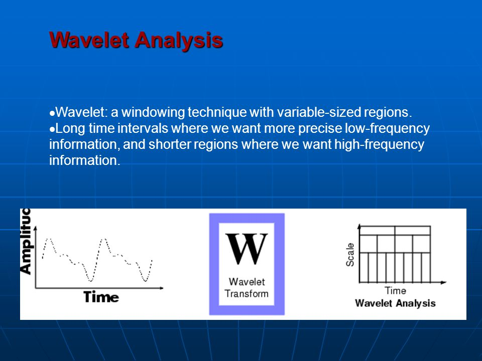 Wavelet Analysis  Wavelet: a windowing technique with variable-sized regions.  Long time intervals where we want more precise low-frequency informat