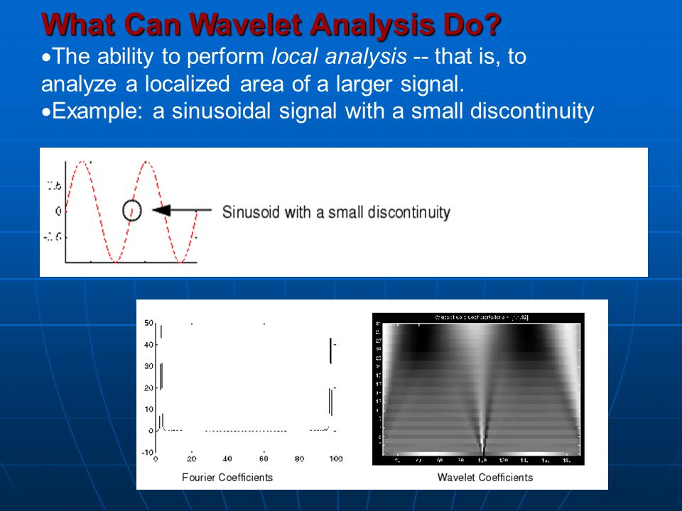 What Can Wavelet Analysis Do?  The ability to perform local analysis -- that is, to analyze a localized area of a larger signal.  Example: a sinusoi