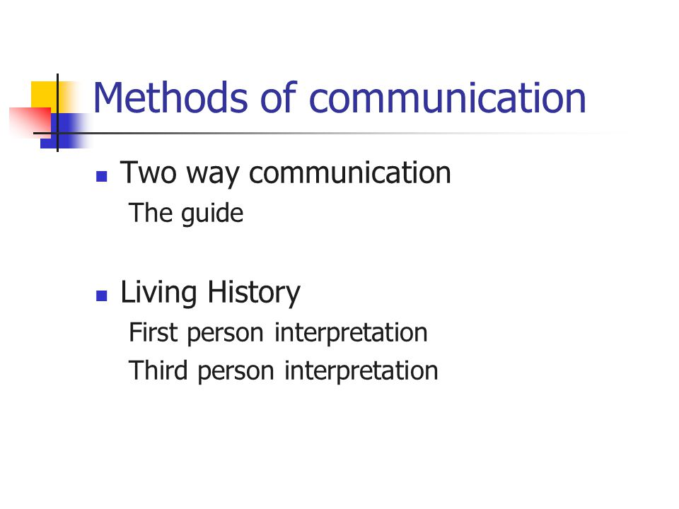 Methods of communication Two way communication The guide Living History First person interpretation Third person interpretation