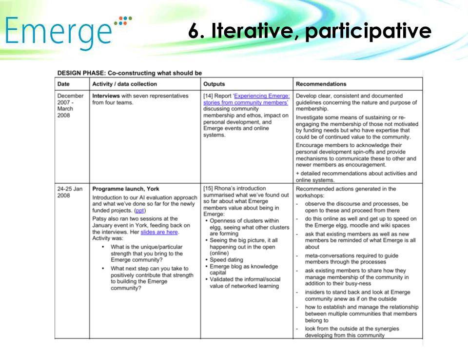 6. Iterative, participative