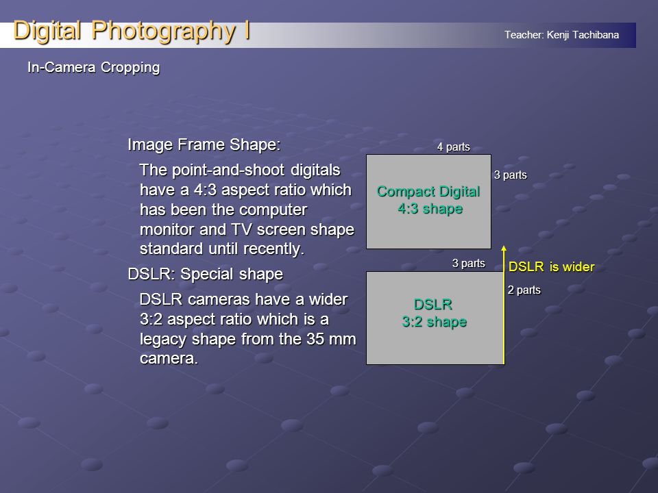 Teacher: Kenji Tachibana Digital Photography I In-Camera Cropping Image Frame Shape: The point-and-shoot digitals have a 4:3 aspect ratio which has been the computer monitor and TV screen shape standard until recently.