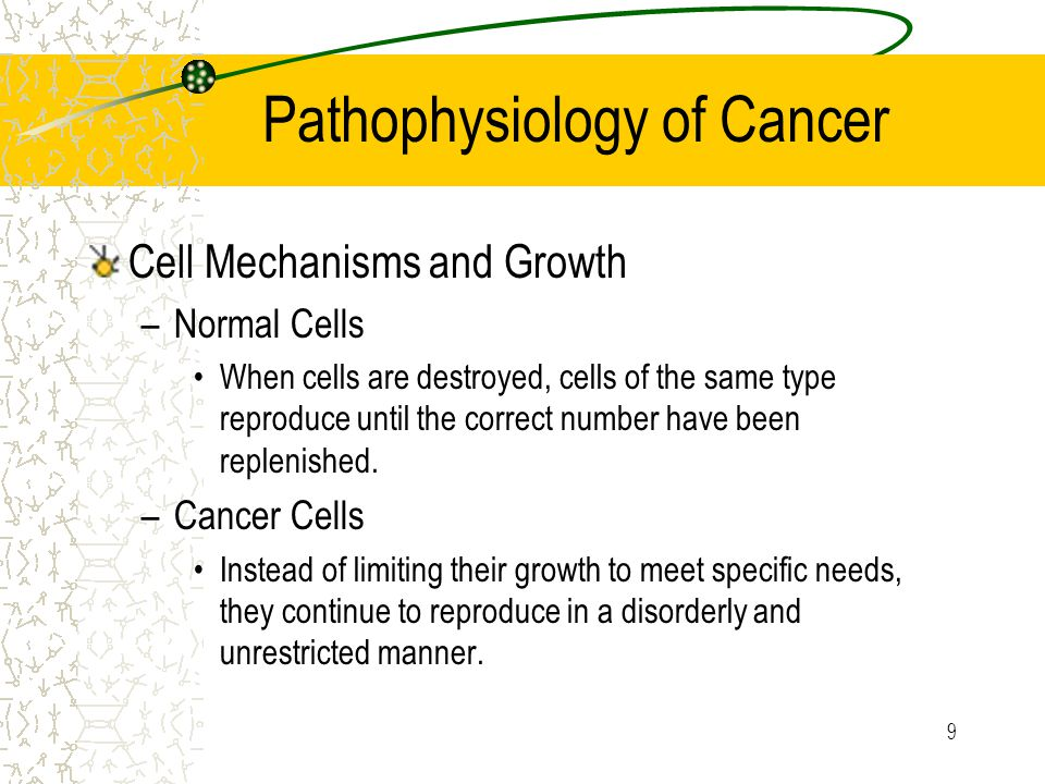 9 Pathophysiology of Cancer Cell Mechanisms and Growth –Normal Cells When cells are destroyed, cells of the same type reproduce until the correct number have been replenished.