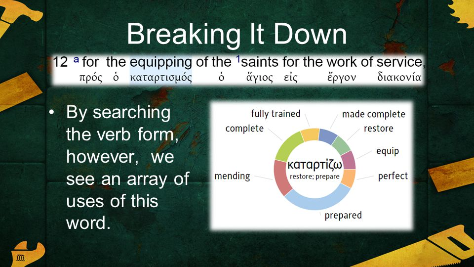 Breaking It Down By searching the verb form, however, we see an array of uses of this word.
