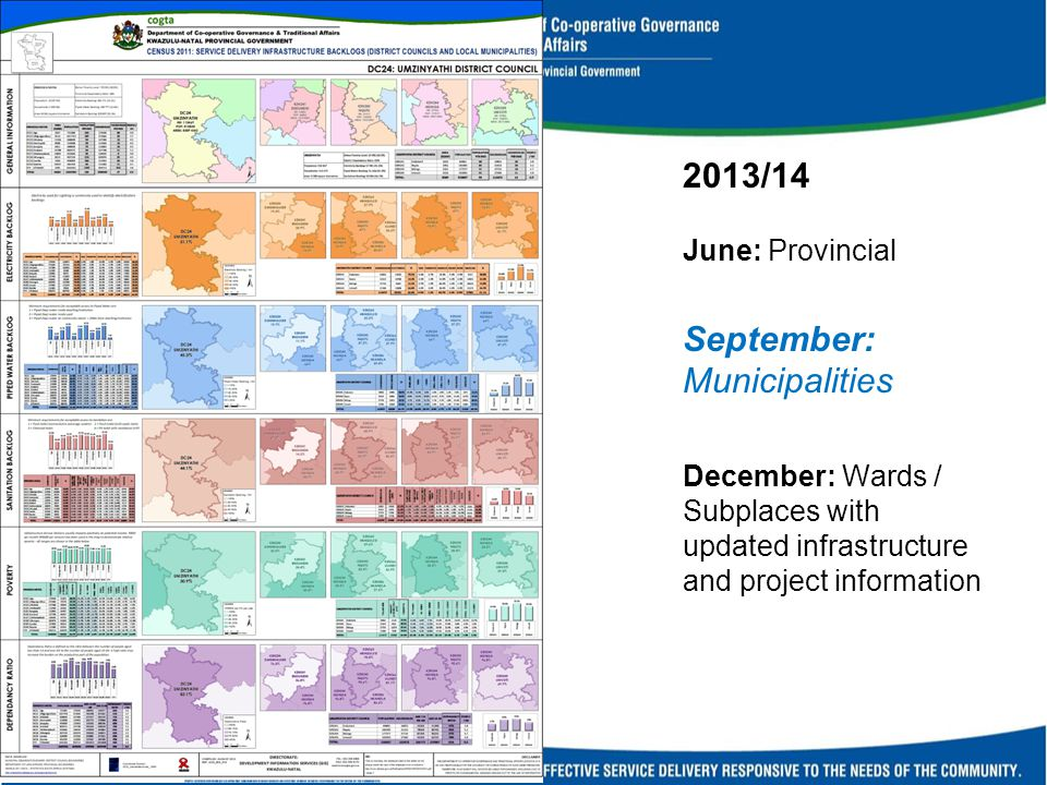 2013/14 June: Provincial September: Municipalities December: Wards / Subplaces with updated infrastructure and project information