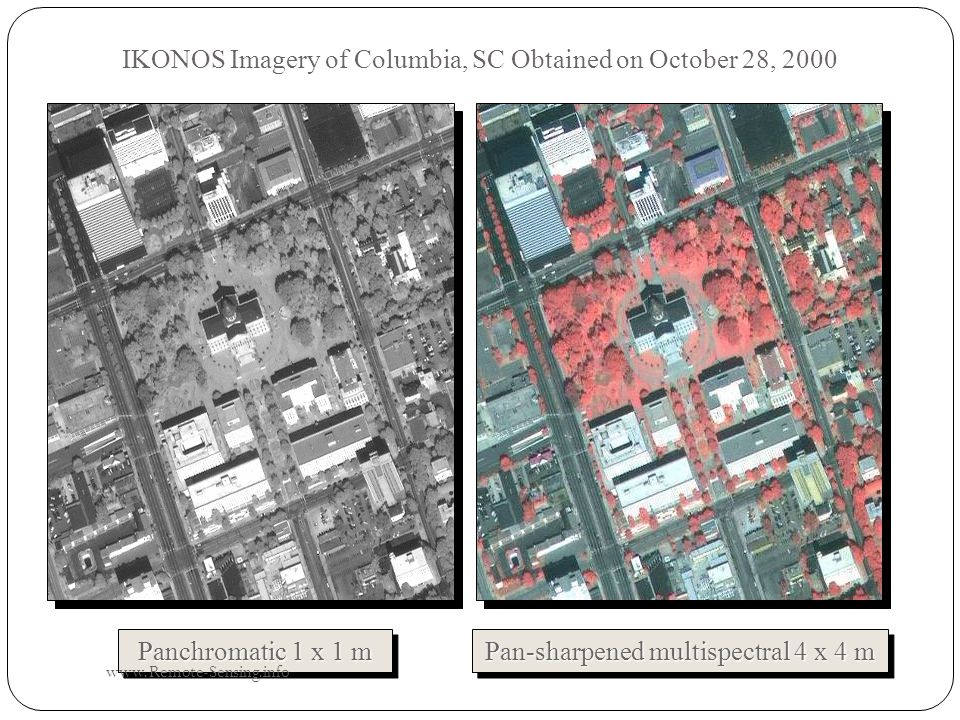 IKONOS Imagery of Columbia, SC Obtained on October 28, 2000 Panchromatic 1 x 1 m Pan-sharpened multispectral 4 x 4 m www.Remote-Sensing.info