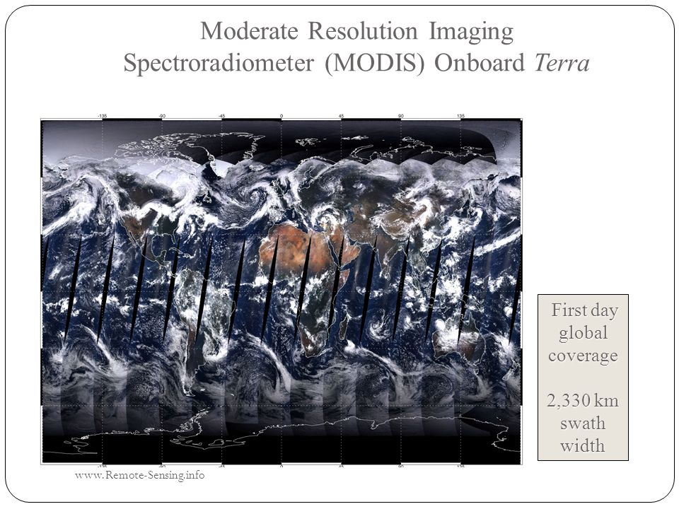 Moderate Resolution Imaging Spectroradiometer (MODIS) Onboard Terra First day global coverage 2,330 km swath width www.Remote-Sensing.info