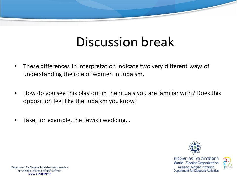 Discussion break These differences in interpretation indicate two very different ways of understanding the role of women in Judaism.