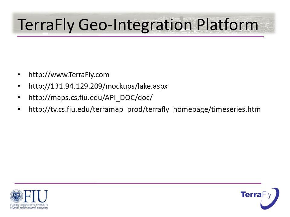 TerraFly Geo-Integration Platform http://www.TerraFly.com http://131.94.129.209/mockups/lake.aspx http://maps.cs.fiu.edu/API_DOC/doc/ http://tv.cs.fiu