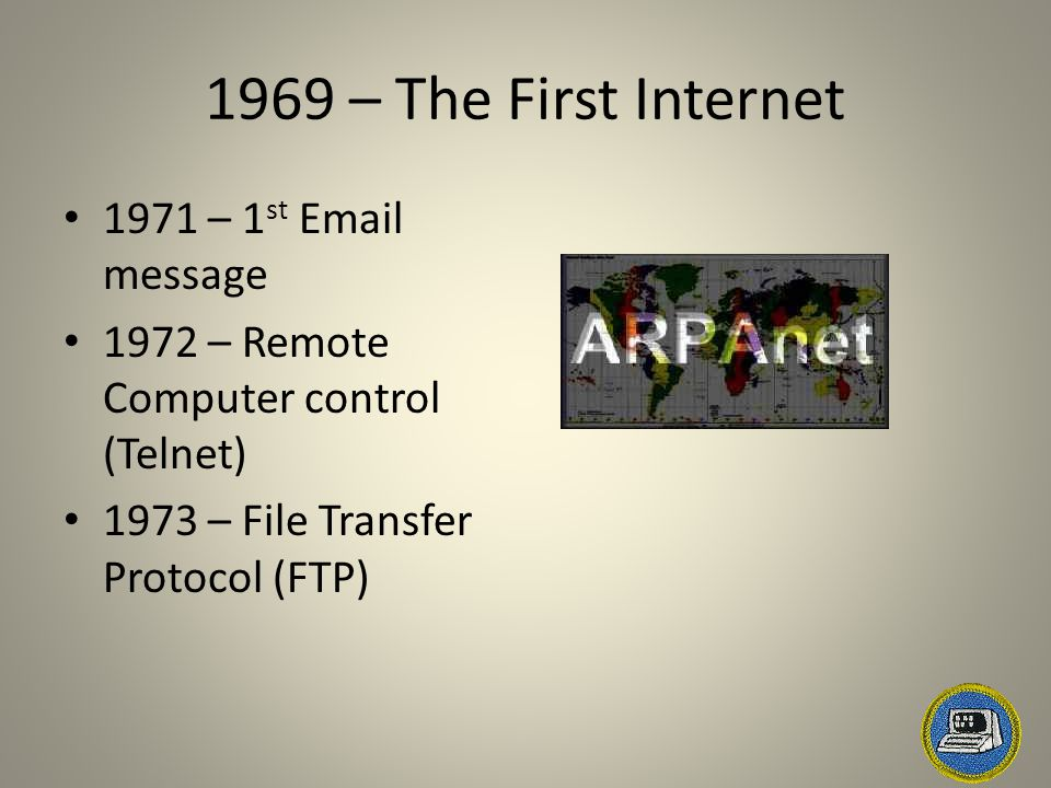 1969 – The First Internet 1971 – 1 st Email message 1972 – Remote Computer control (Telnet) 1973 – File Transfer Protocol (FTP)
