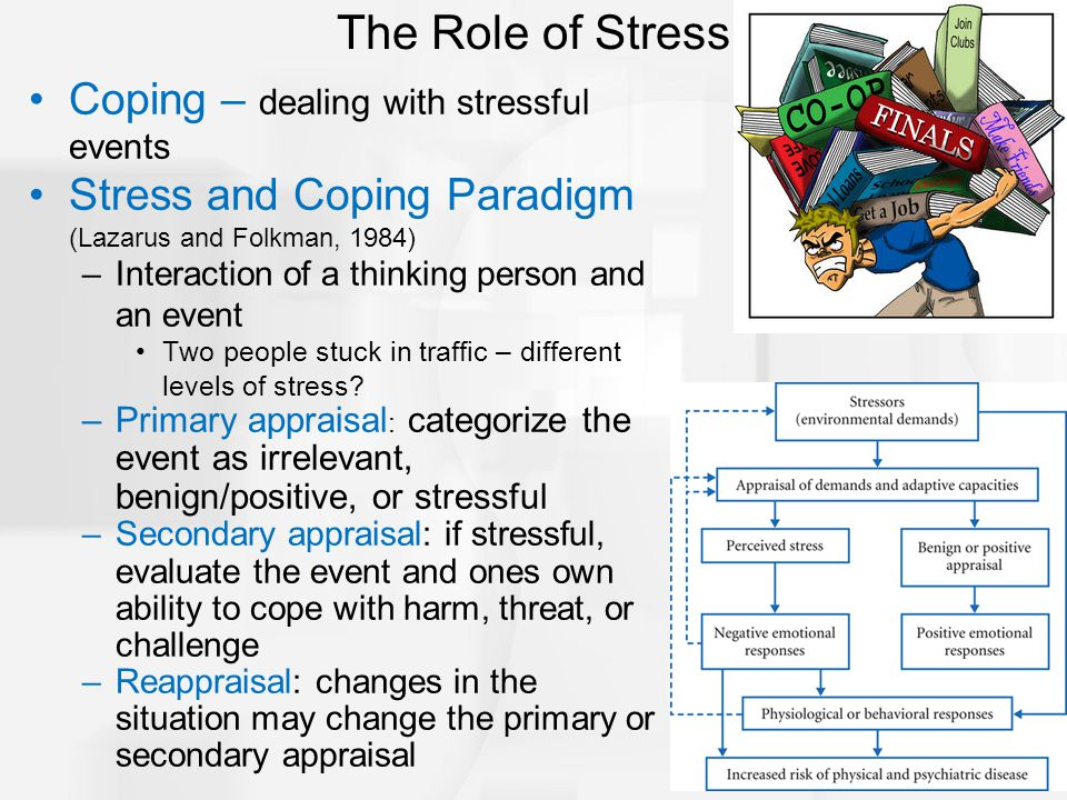Coping – dealing with stressful events Stress and Coping Paradigm (Lazarus and Folkman, 1984) –Interaction of a thinking person and an event Two people stuck in traffic – different levels of stress.