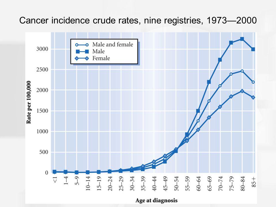 Cancer incidence crude rates, nine registries, 1973—2000