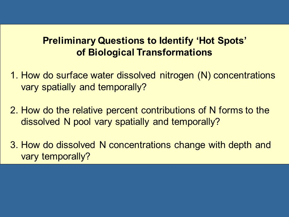 Preliminary Questions to Identify 'Hot Spots' of Biological Transformations 1.How do surface water dissolved nitrogen (N) concentrations vary spatially and temporally.