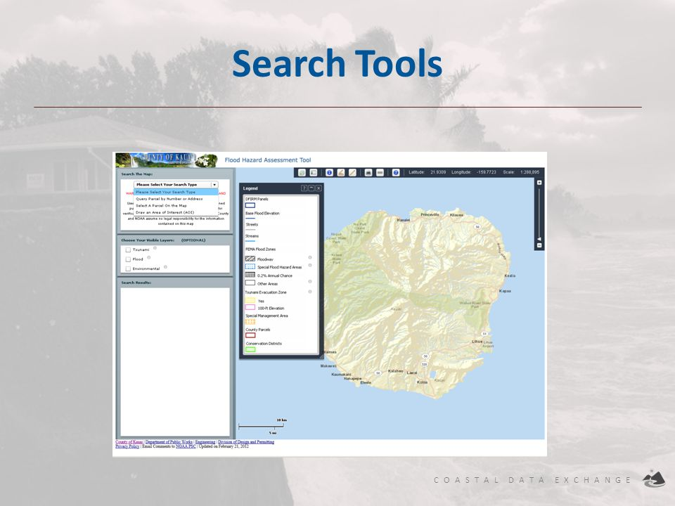 COASTAL DATA EXCHANGE Search Tools