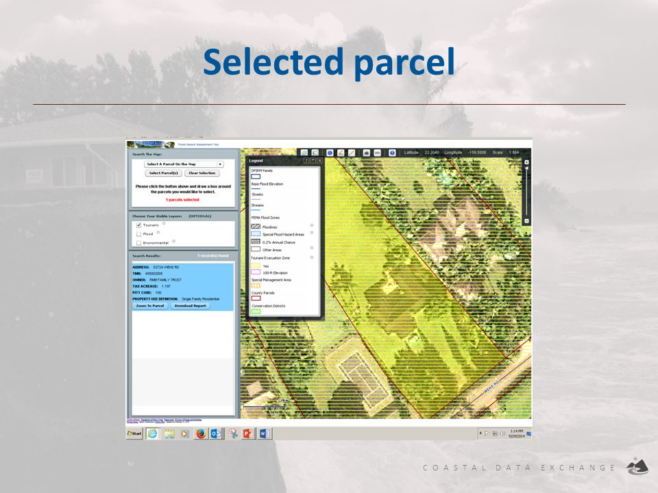 COASTAL DATA EXCHANGE Selected parcel