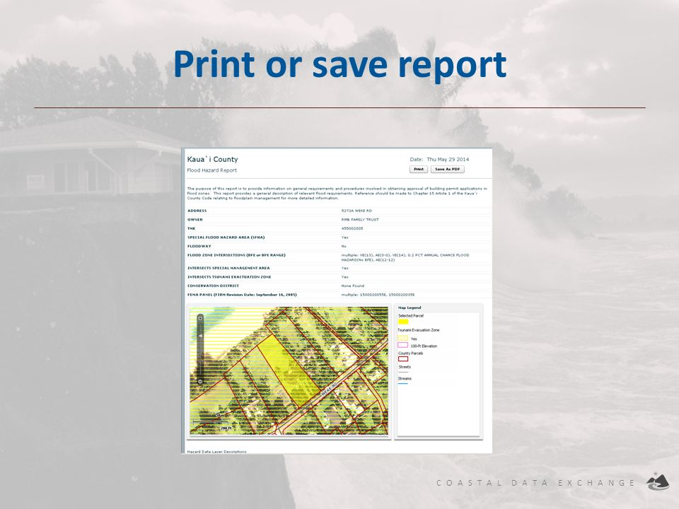 COASTAL DATA EXCHANGE Print or save report