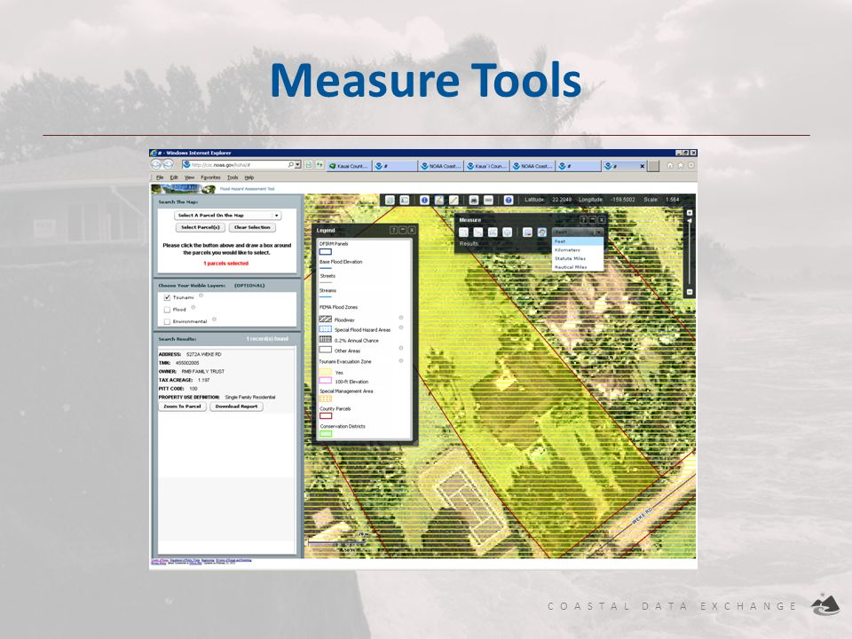 COASTAL DATA EXCHANGE Measure Tools