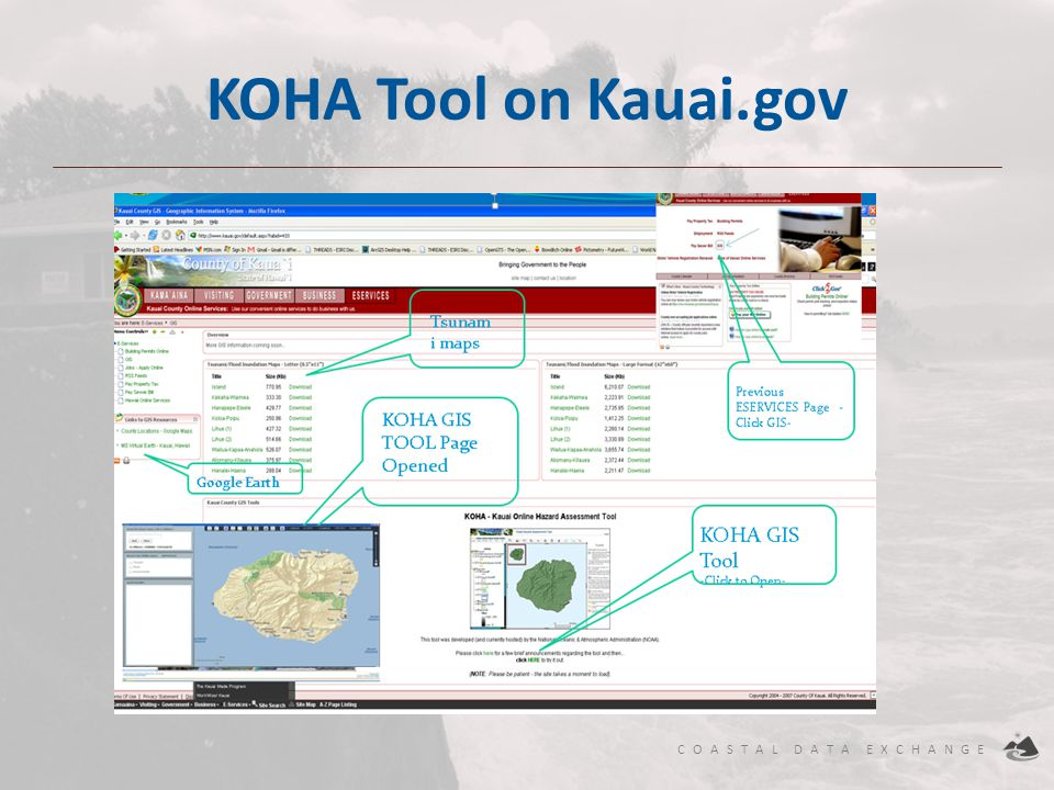 COASTAL DATA EXCHANGE KOHA Tool on Kauai.gov