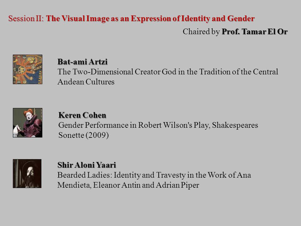 Session II: The Visual Image as an Expression of Identity and Gender Prof.