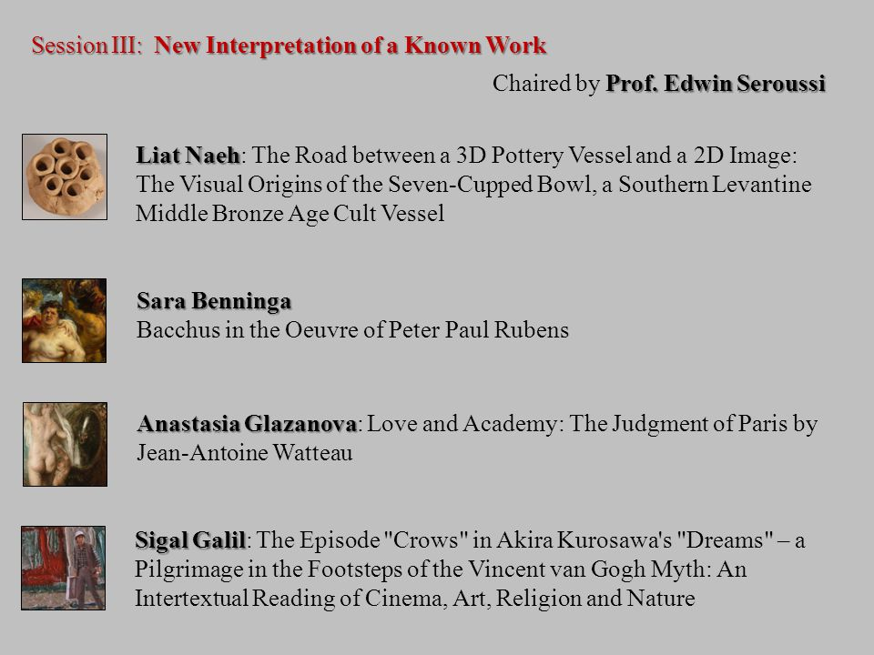 Session III: New Interpretation of a Known Work Prof.