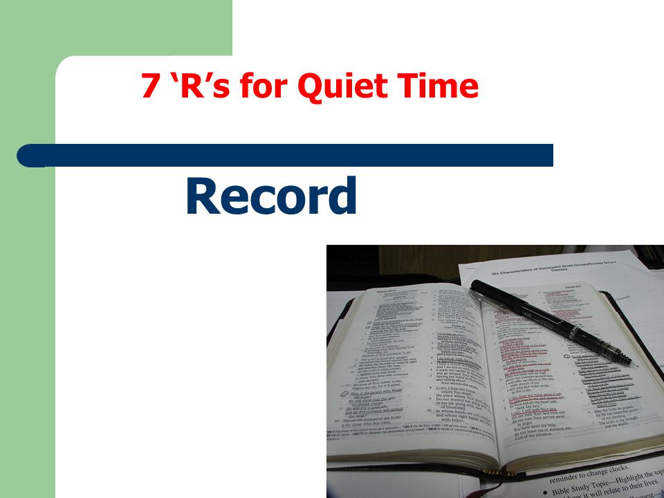 7 'R's for Quiet Time Record