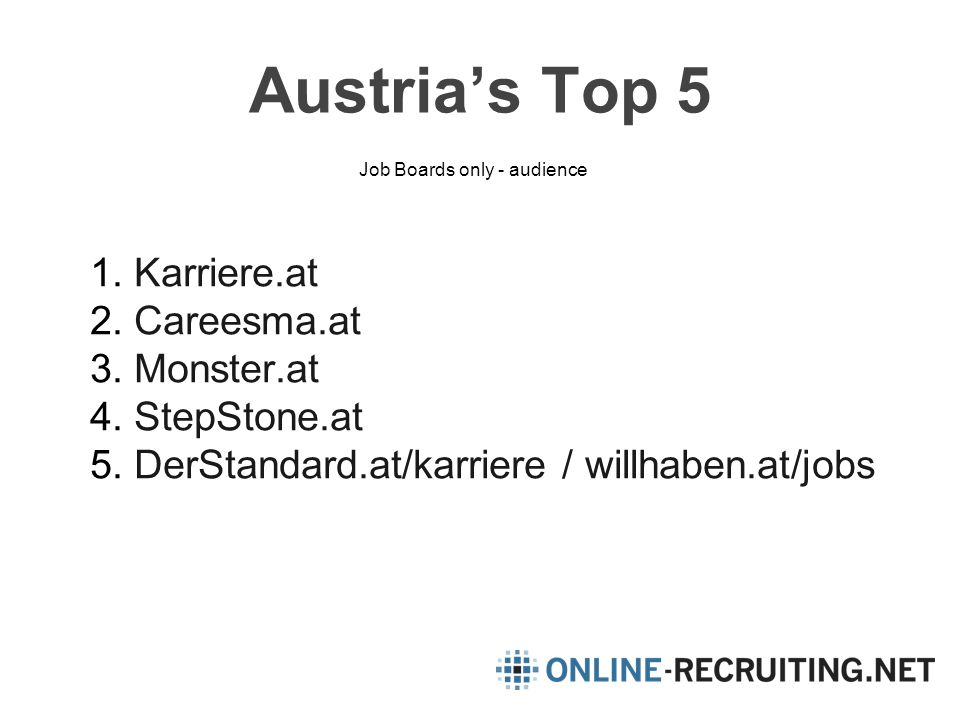 Austria's Top 5 1.Karriere.at 2.Careesma.at 3.Monster.at 4.StepStone.at 5.DerStandard.at/karriere / willhaben.at/jobs Job Boards only - audience