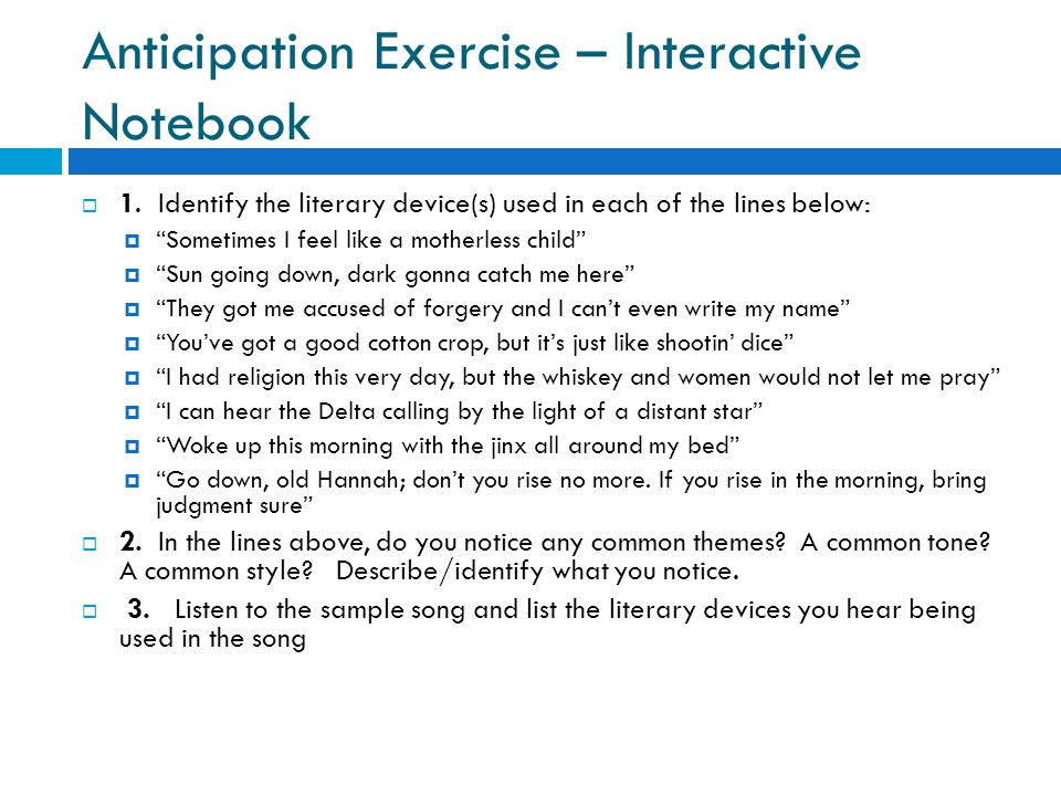 Anticipation Exercise – Interactive Notebook  1.