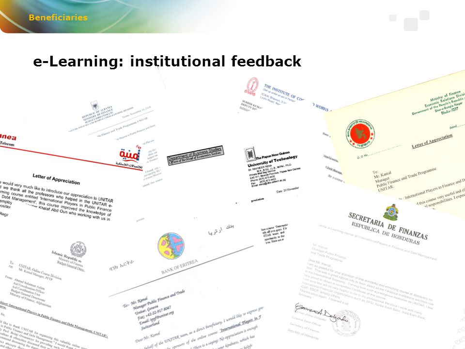 e-Learning: institutional feedback Beneficiaries