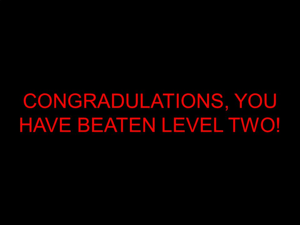 CONGRADULATIONS, YOU HAVE BEATEN LEVEL TWO!