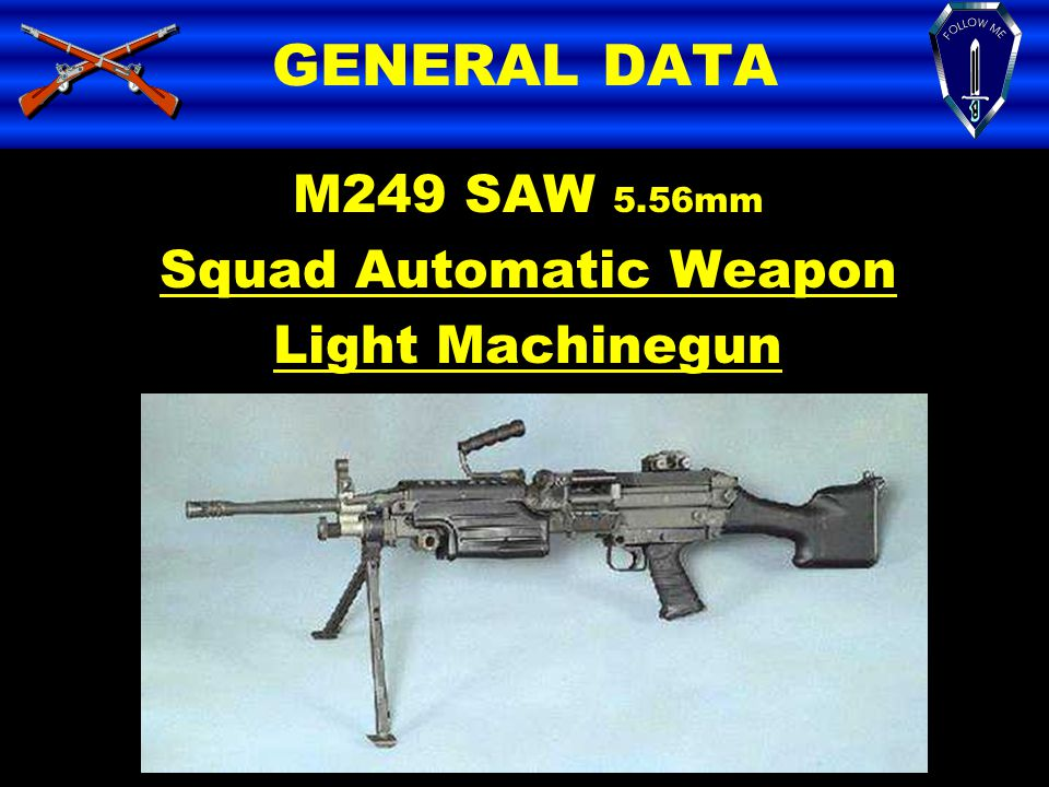GENERAL DATA M249 SAW 5.56mm Squad Automatic Weapon Light Machinegun
