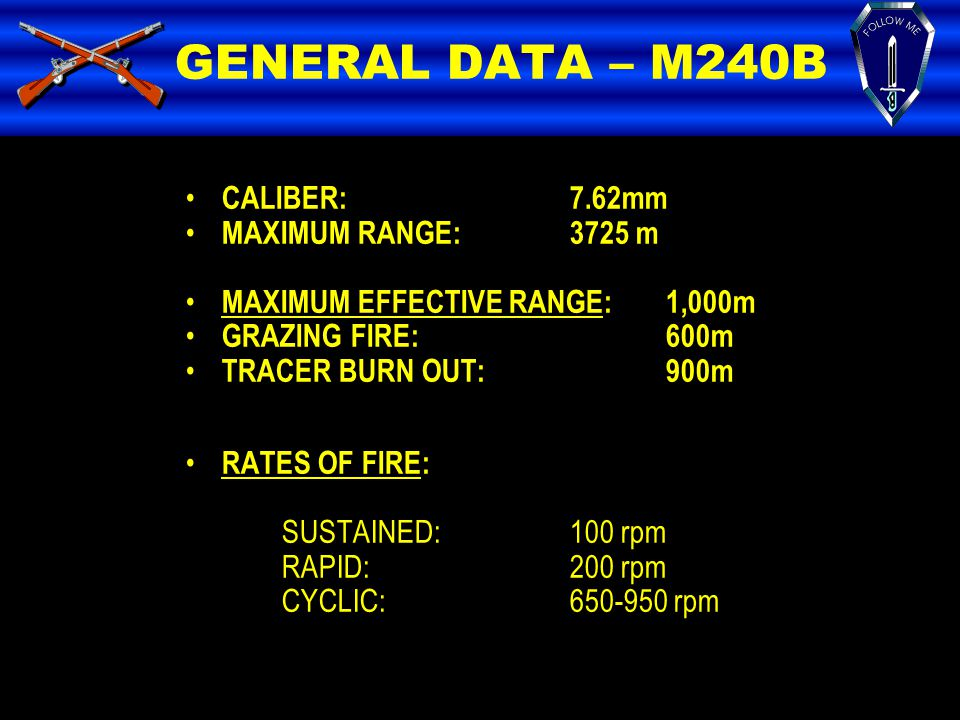 GENERAL DATA – M240B CALIBER:7.62mm MAXIMUM RANGE:3725 m MAXIMUM EFFECTIVE RANGE:1,000m GRAZING FIRE:600m TRACER BURN OUT:900m RATES OF FIRE: SUSTAINE