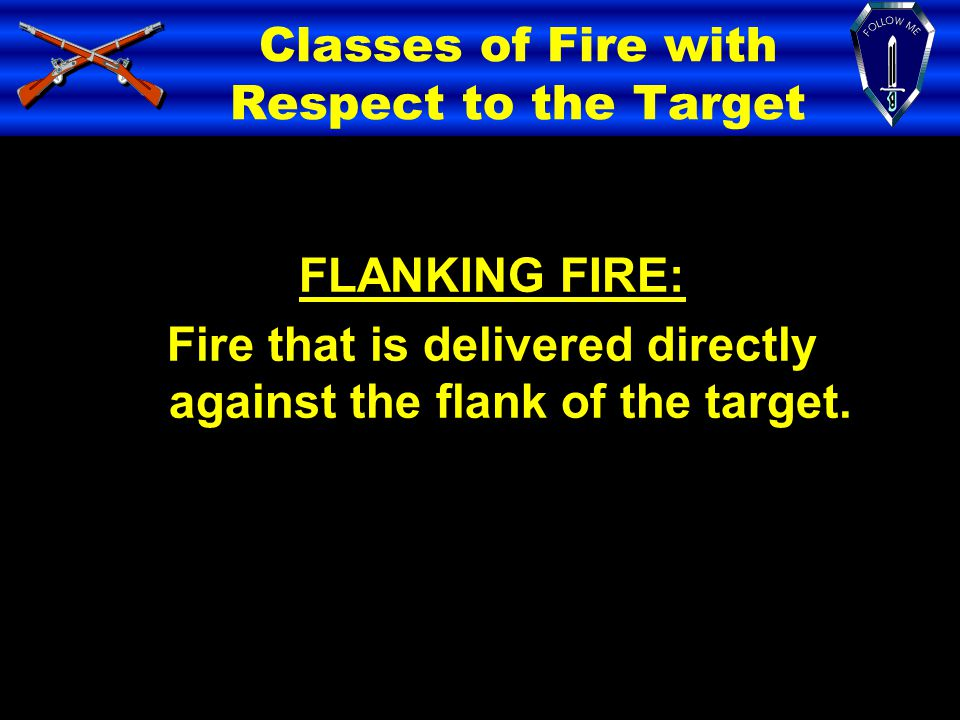 Classes of Fire with Respect to the Target FLANKING FIRE: Fire that is delivered directly against the flank of the target.