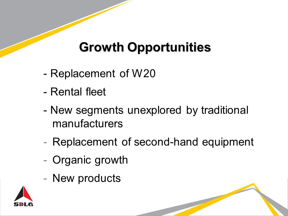 Growth Opportunities - Replacement of W20 - Rental fleet - New segments unexplored by traditional manufacturers -Replacement of second-hand equipment -Organic growth -New products