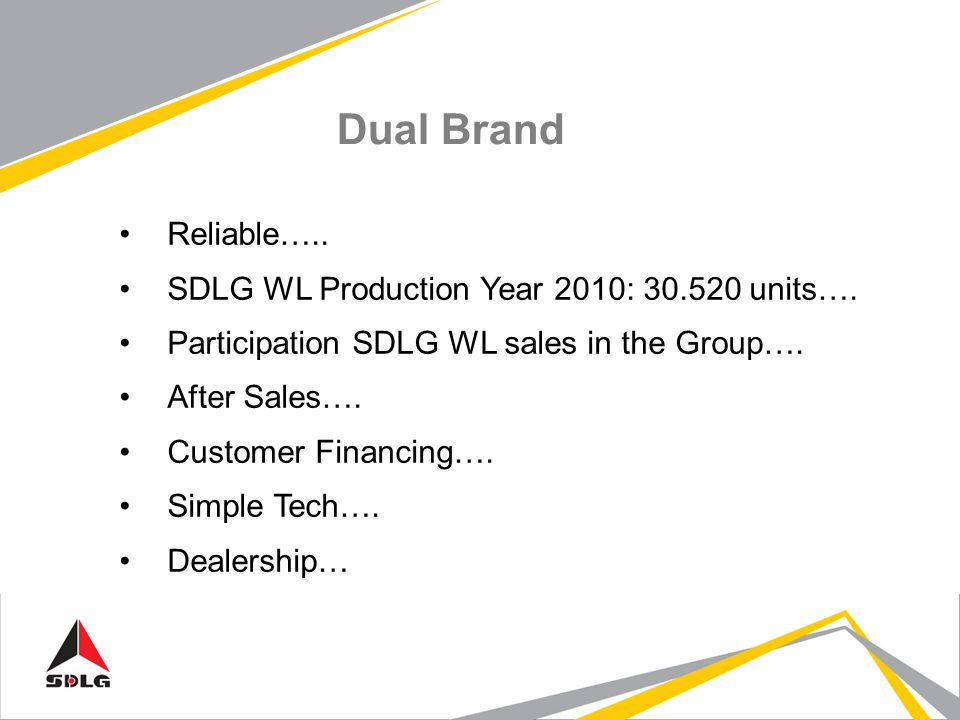 Dual Brand Reliable….. SDLG WL Production Year 2010: 30.520 units….