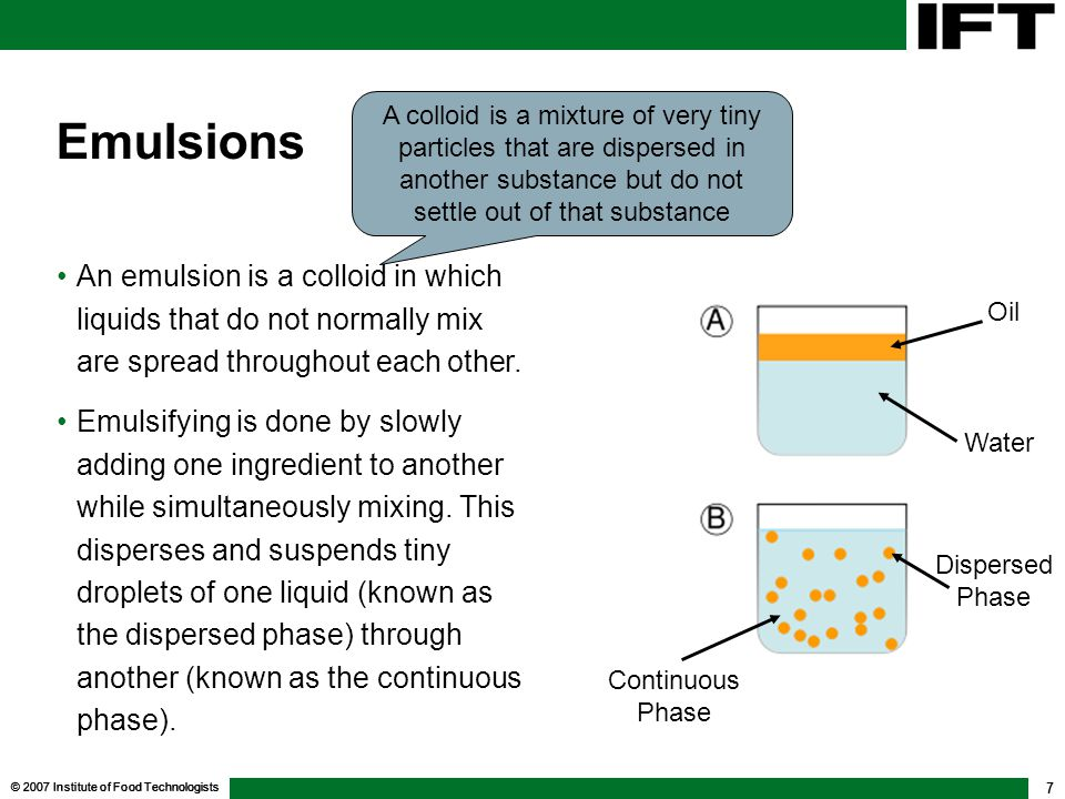 © 2007 Institute of Food Technologists 7 Emulsions An emulsion is a colloid in which liquids that do not normally mix are spread throughout each other.