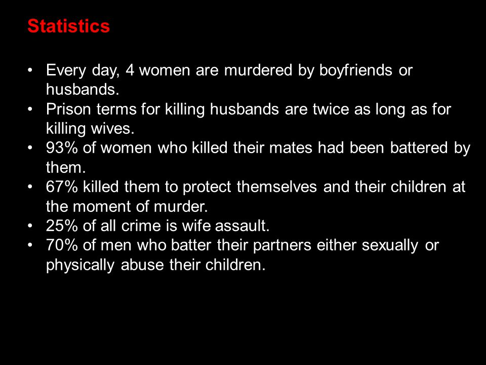 Statistics Every day, 4 women are murdered by boyfriends or husbands. Prison terms for killing husbands are twice as long as for killing wives. 93% of