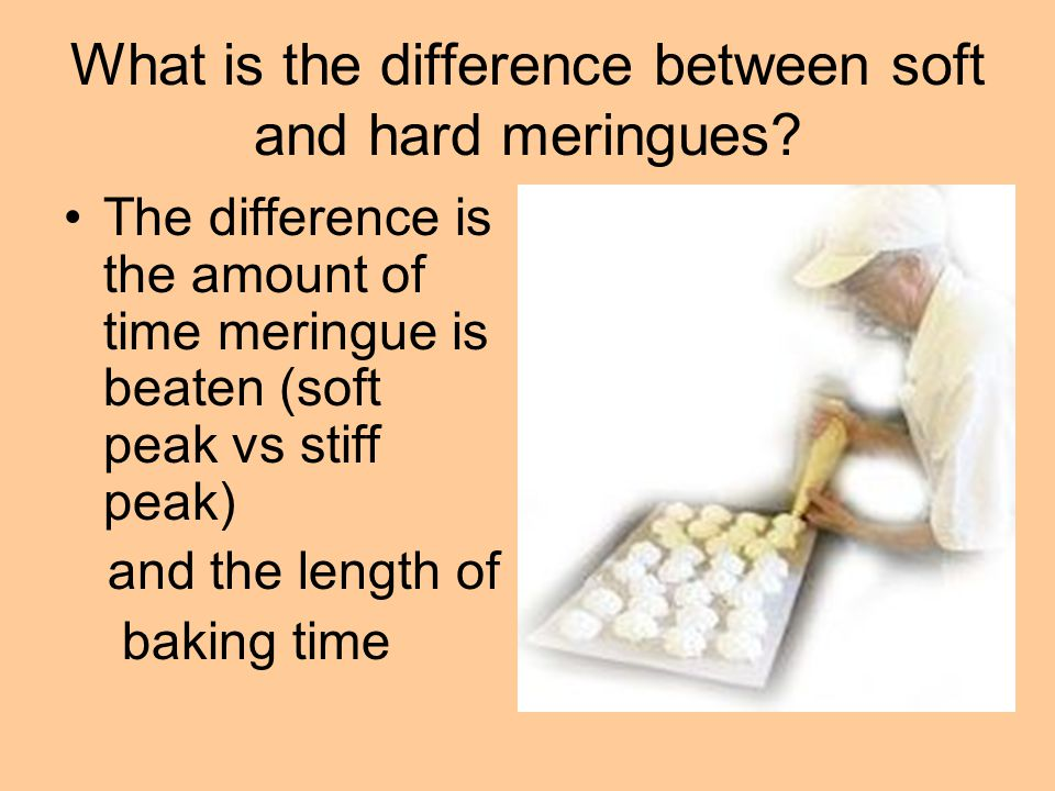 What is the difference between soft and hard meringues? The difference is the amount of time meringue is beaten (soft peak vs stiff peak) and the leng