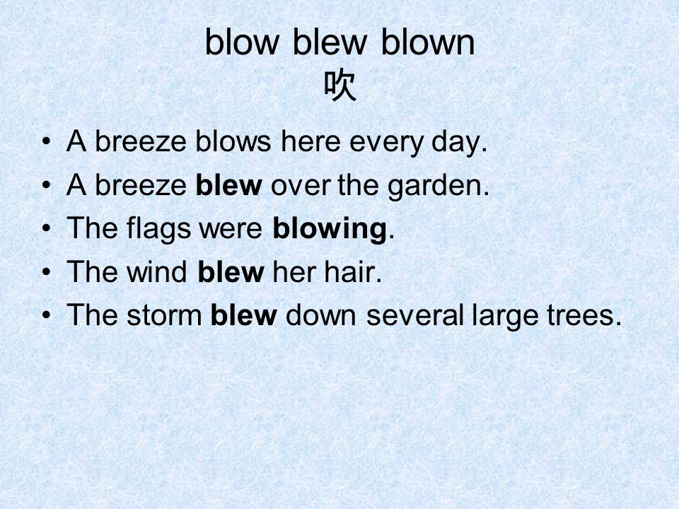 blow blew blown 吹 A breeze blows here every day. A breeze blew over the garden.