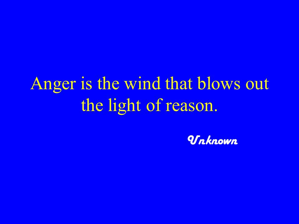 Anger is the wind that blows out the light of reason. Unknown