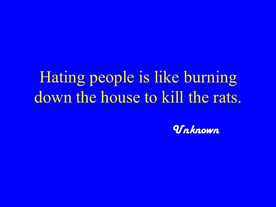 Hating people is like burning down the house to kill the rats. Unknown