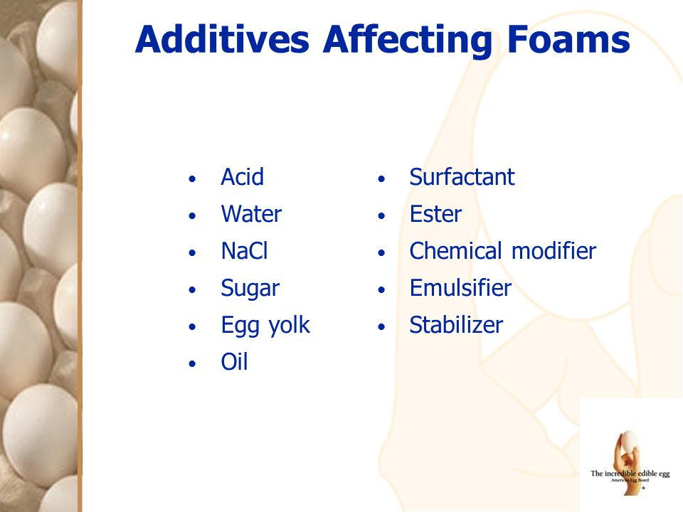 Additives Affecting Foams Acid Water NaCl Sugar Egg yolk Oil Surfactant Ester Chemical modifier Emulsifier Stabilizer