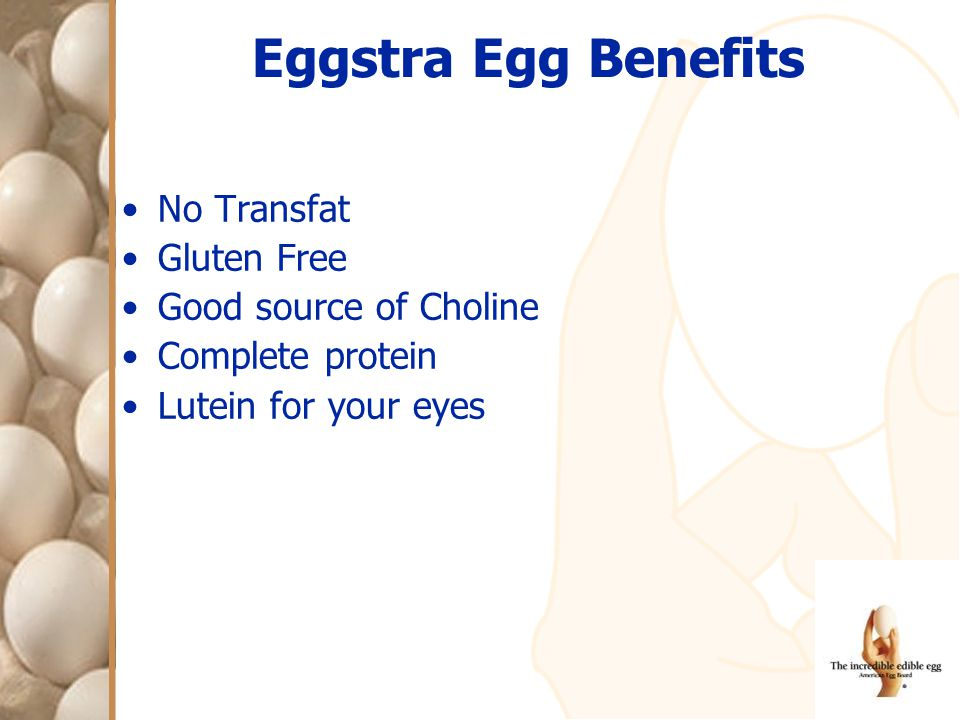 Eggstra Egg Benefits No Transfat Gluten Free Good source of Choline Complete protein Lutein for your eyes